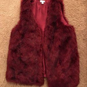 Fluffy burgundy vest